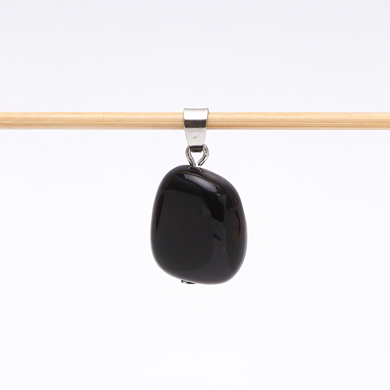 Кулон агат черный Бразилия галтовка (биж. сплав) 2,5-3 см