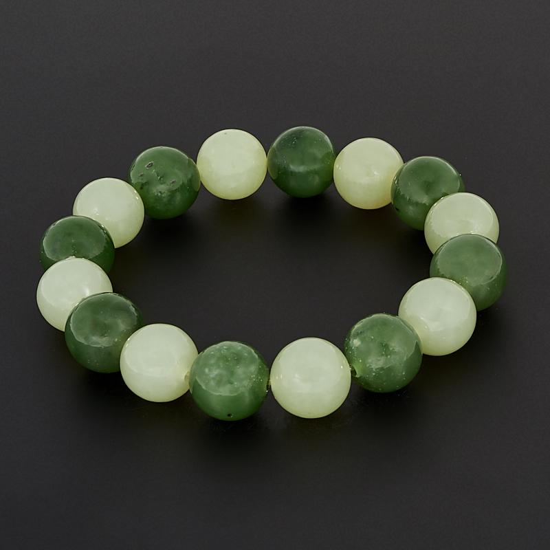 Браслет нефрит зеленый 12 мм 16 см браслет нефрит зеленый с эффектом кошачьего глаза 11 мм 15 см