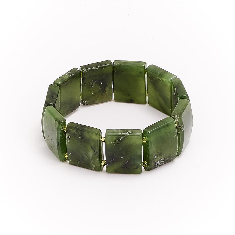 Браслет нефрит зеленый 16 см браслет галактика нефрит жемчуг хрусталь