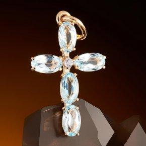 Кулон топаз голубой Нигерия крест огранка (золото 585 пр.)