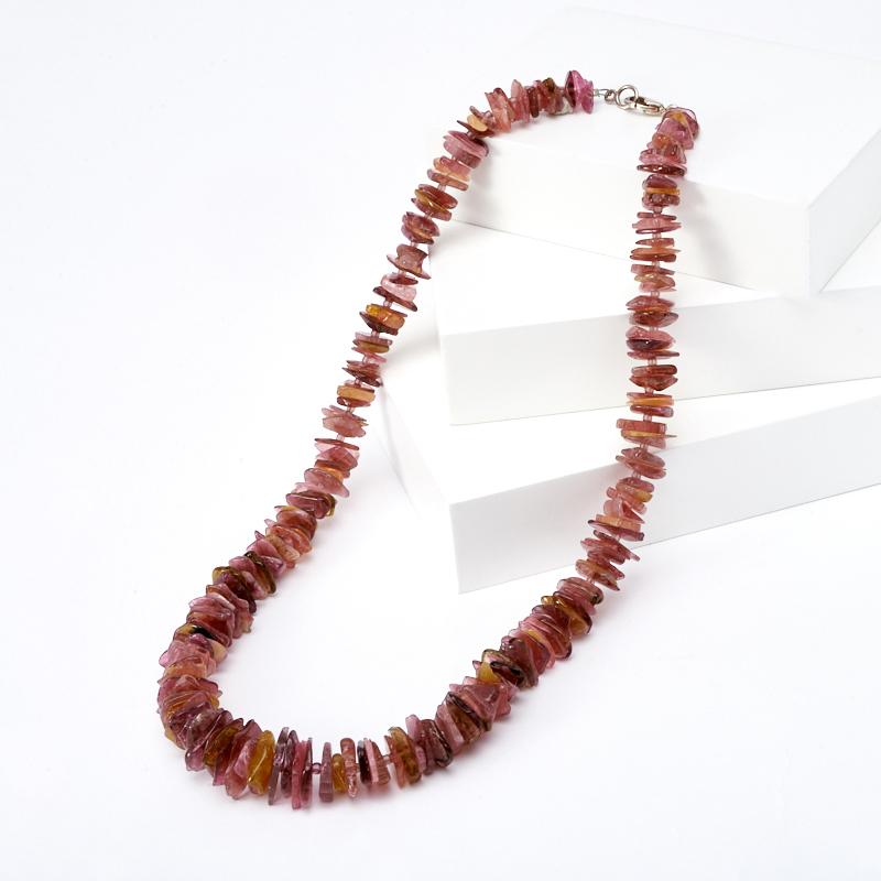 Бусы турмалин розовый (рубеллит) 46 см (биж. сплав)