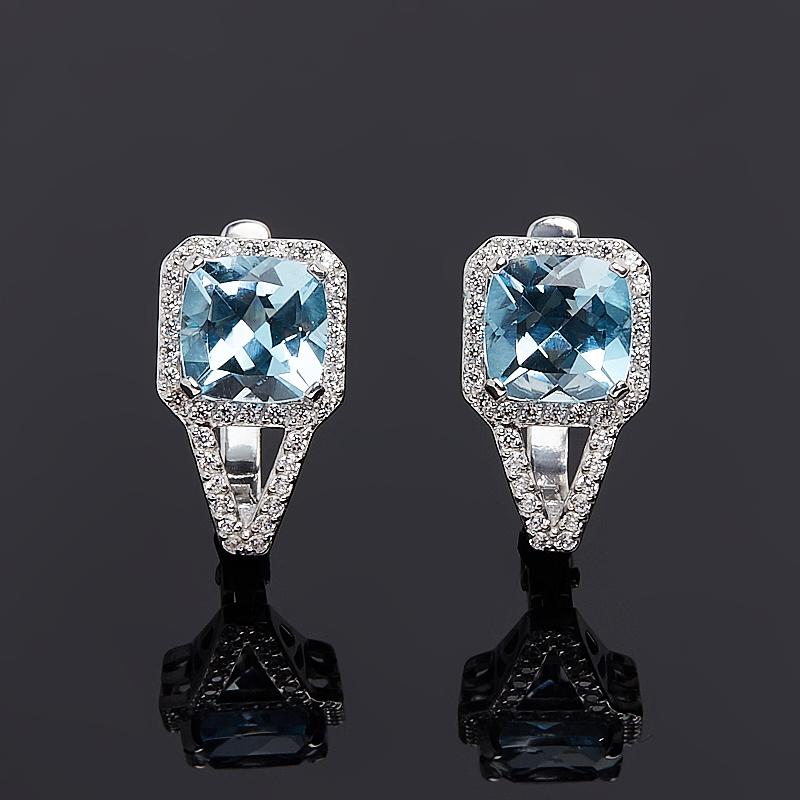 Серьги топаз голубой огранка (серебро 925 пр.) серьги коюз топаз серьги т108028233