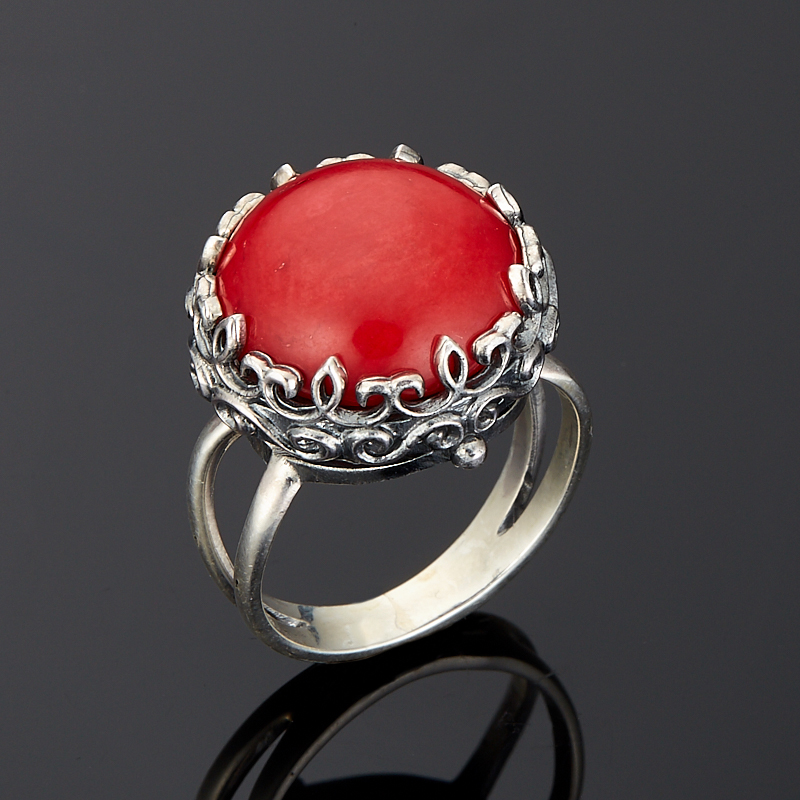 Кольцо коралл красный (серебро 925 пр.) размер 18,5 кольцо мех коралл