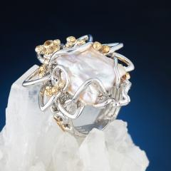Кольцо жемчуг кеши лавандовый (серебро 925 пр., позолота) размер регулируемый