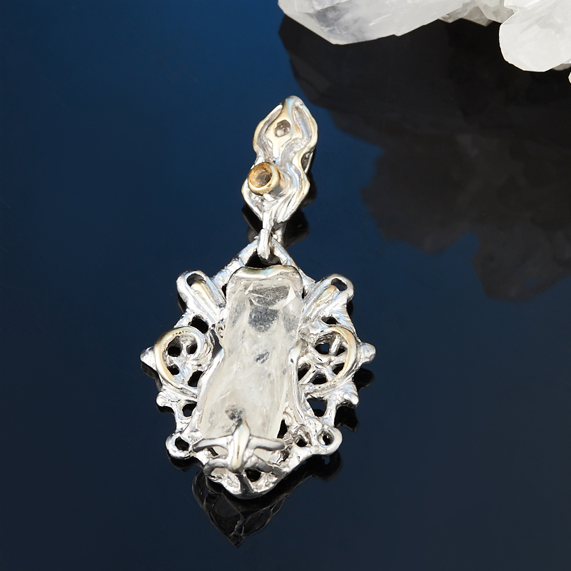 Кулон горный хрусталь (серебро 925 пр., позолота) кулон хризопраз серебро 925 пр позолота