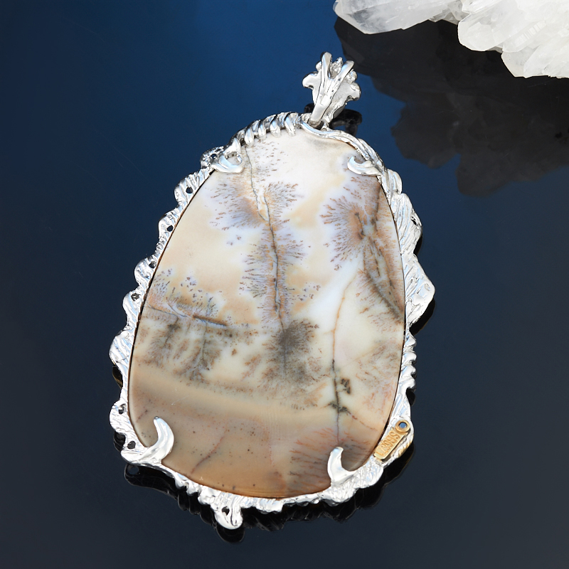Кулон агат пейзажный (серебро 925 пр., позолота) цена