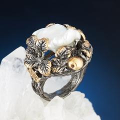 Кольцо жемчуг кеши белый (серебро 925 пр., позолота) размер регулируемый