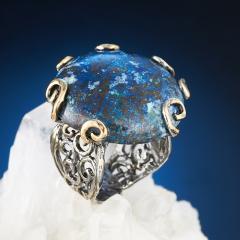 Кольцо хризоколла Казахстан (серебро 925 пр., позолота) размер регулируемый