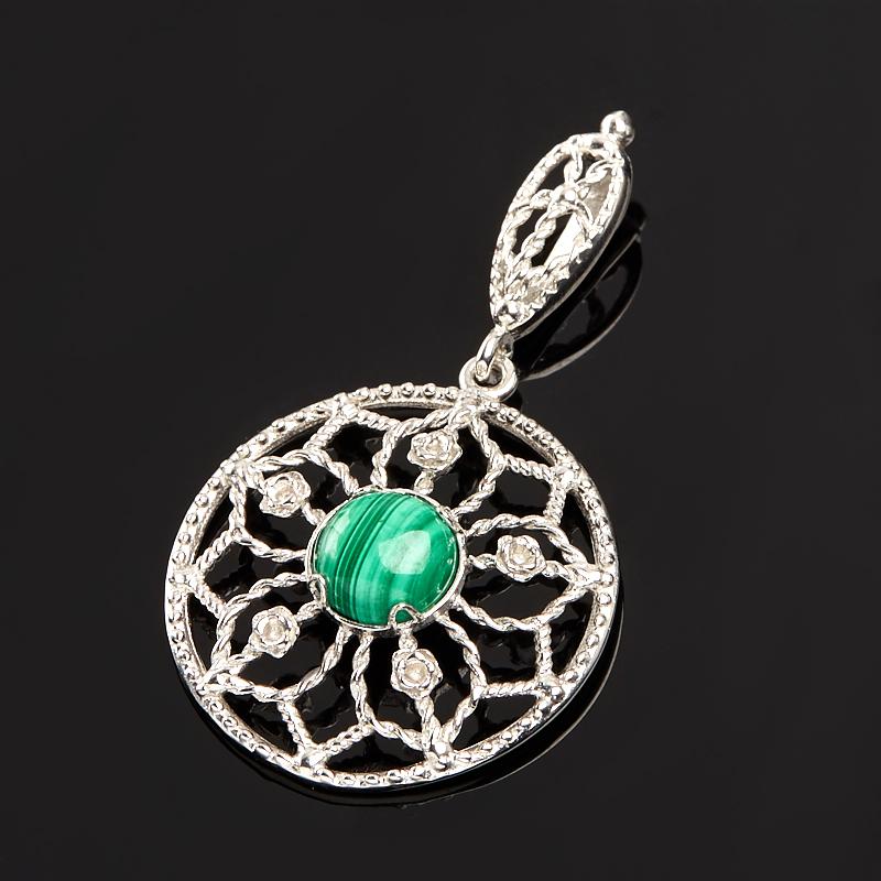 Кулон малахит круг (серебро 925 пр.)