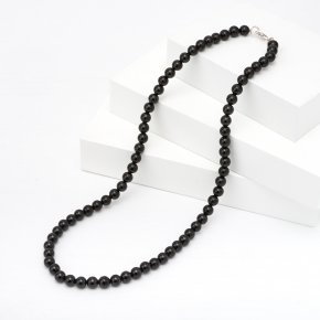 Бусы турмалин черный (шерл) Бразилия 6 мм 49 см (биж. сплав)