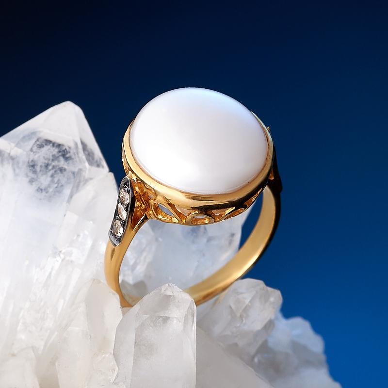 Кольцо жемчуг белый (золото 585 пр.) размер 17,5