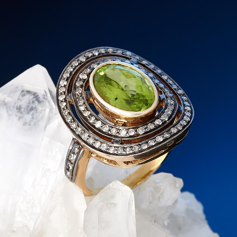 Кольцо хризолит огранка (серебро 925 пр., золото 585 пр.) размер 17,5