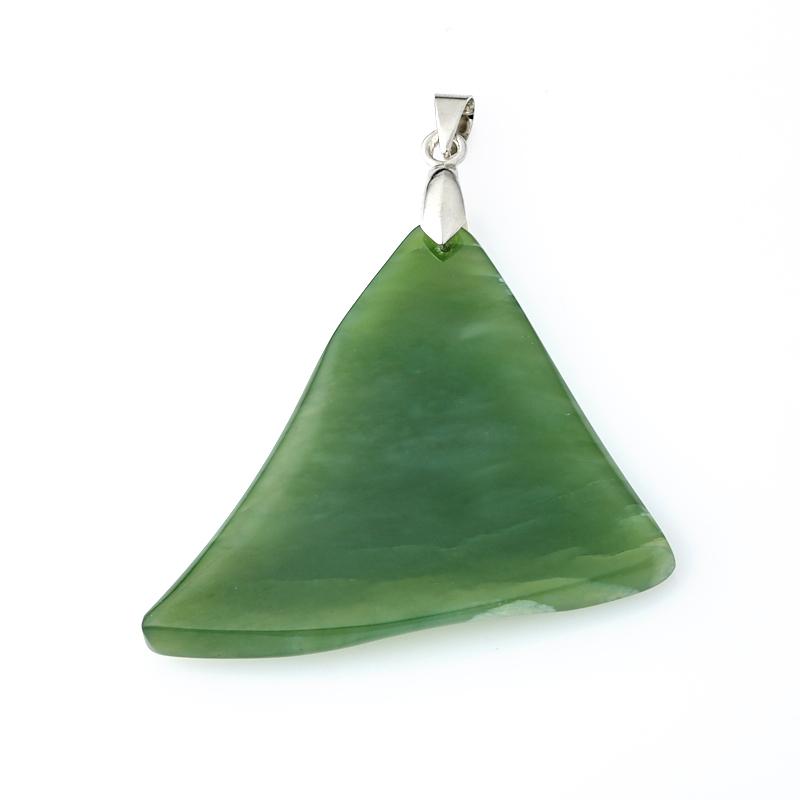 Кулон нефрит зеленый (биж. сплав) 6 см
