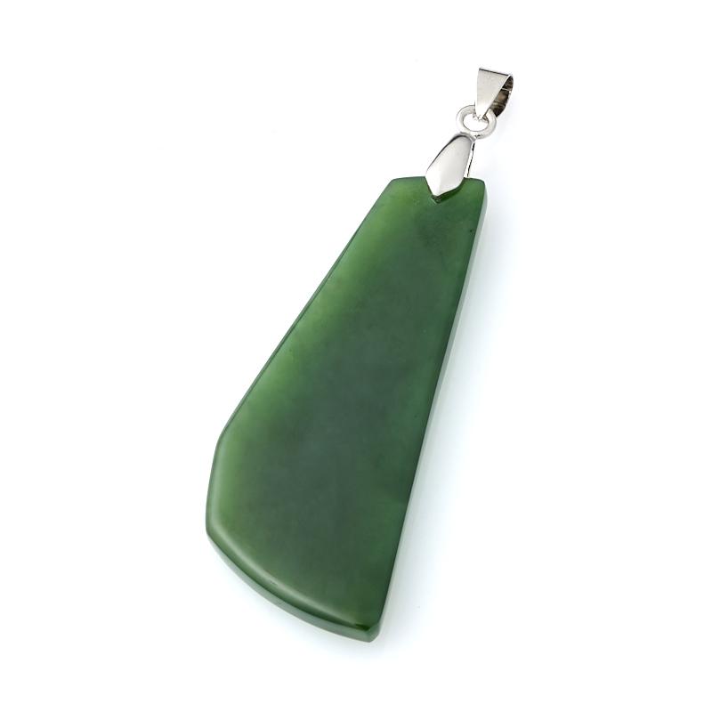 Кулон нефрит зеленый (биж. сплав) 7 см