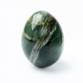 Яйцо нефрит зеленый с эффектом кошачьего глаза Россия 6,5 см
