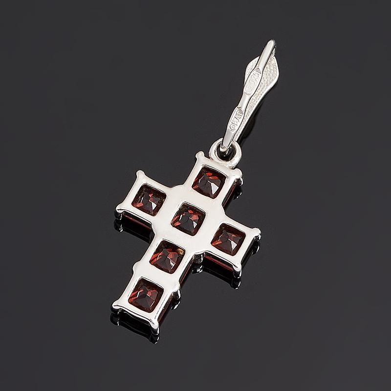 Кулон гранат альмандин Индия крест огранка (серебро 925 пр. родир. бел.)