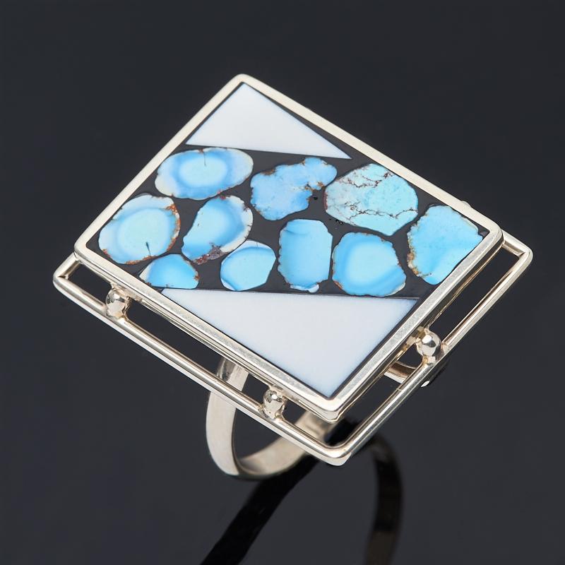 Кольцо бирюза, кахолонг Казахстан (нейзильбер) размер 18,5