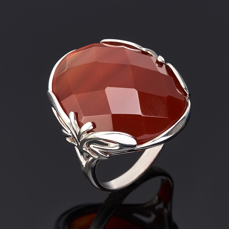 Кольцо сердолик огранка (серебро 925 пр.) размер 18