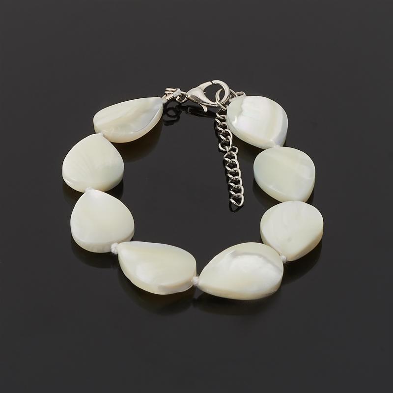 Браслет перламутр белый 16-19 см (биж. сплав) авторский браслет лиманди змеевик перламутр кахолонг