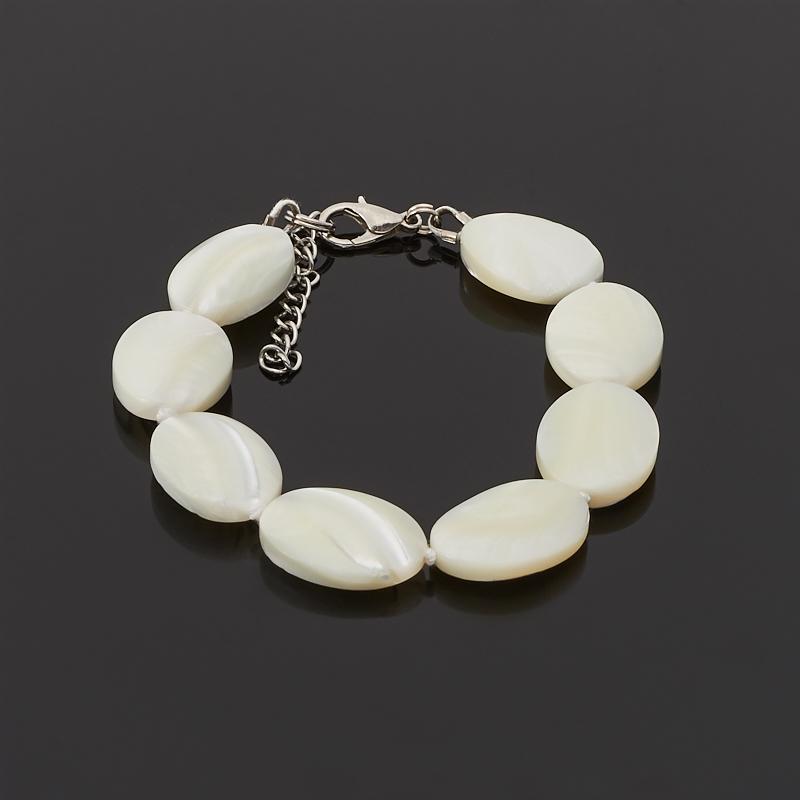 Браслет перламутр белый 17-20 см (биж. сплав) авторский браслет лиманди змеевик перламутр кахолонг