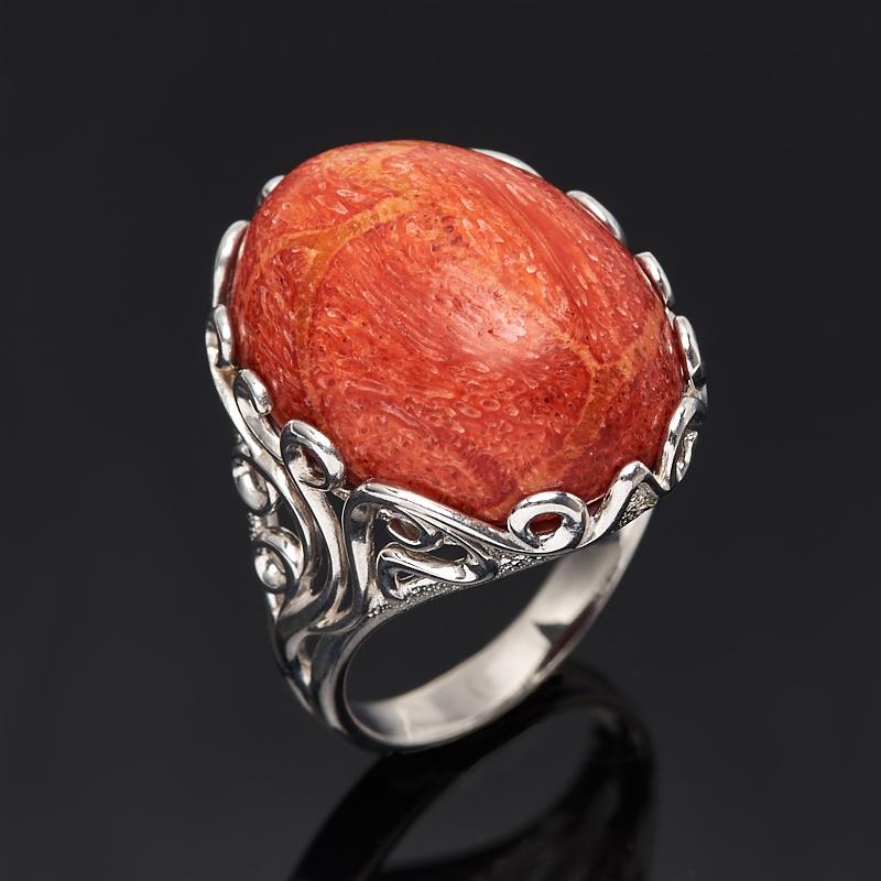 Кольцо коралл красный (серебро 925 пр.) размер 18 кольцо мех коралл