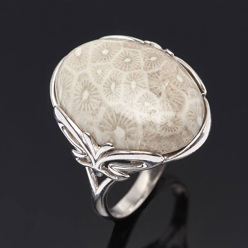 Кольцо коралл (серебро 925 пр.) размер 18,5 кольцо мех коралл