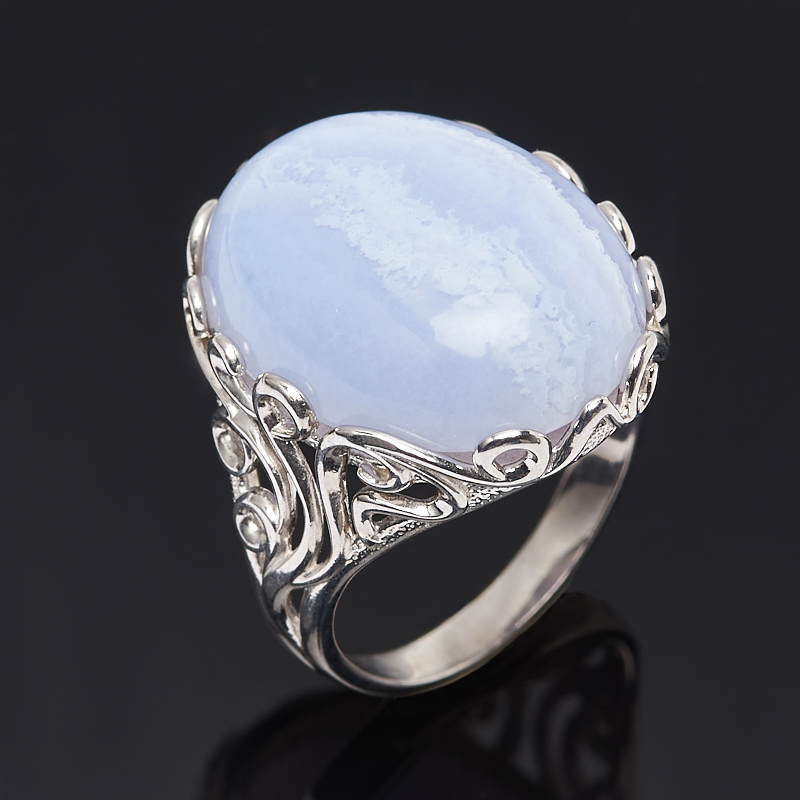 Кольцо агат голубой (серебро 925 пр.) размер 17