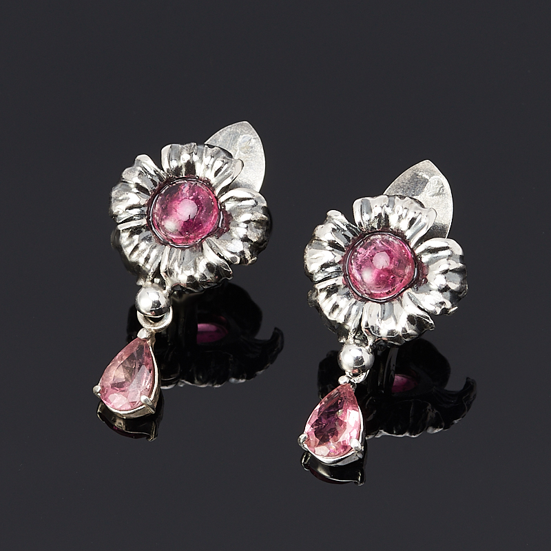 Серьги турмалин розовый (рубеллит) (серебро 925 пр.)