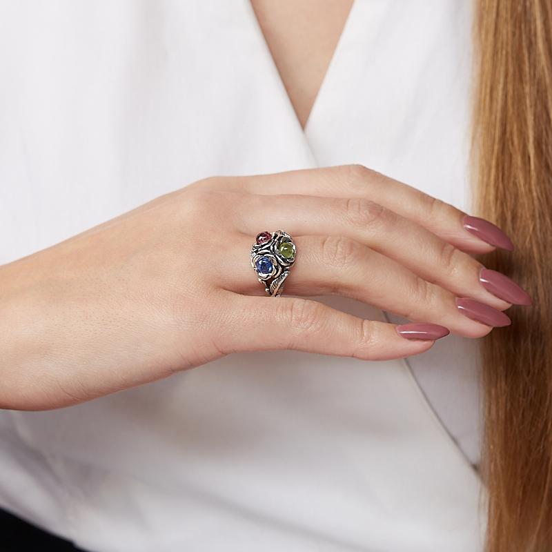 Кольцо микс кианит, турмалин, хризолит (серебро 925 пр. оксидир.) размер 18,5