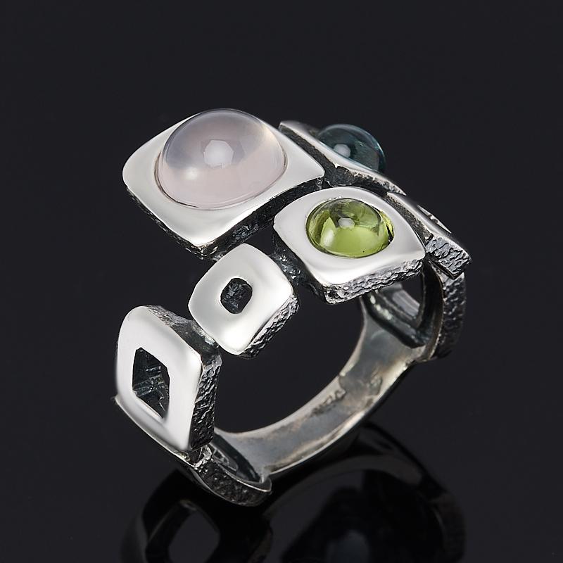 Кольцо микс розовый кварц, топаз, хризолит (серебро 925 пр. оксидир.) размер 14,5