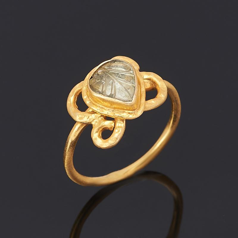 Кольцо турмалин зеленый (верделит) (серебро 925 пр., позолота) размер 16,5