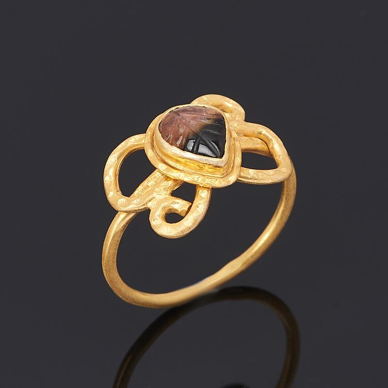 Кольцо турмалин (серебро 925 пр., позолота) размер 17,5