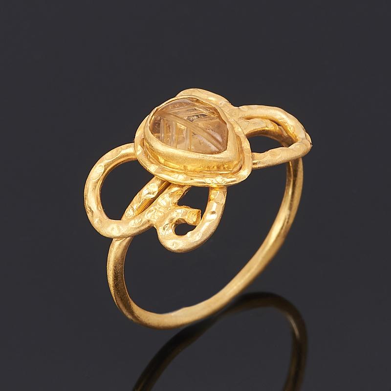 Кольцо турмалин желтый (дравит) (серебро 925 пр., позолота) размер 17,5