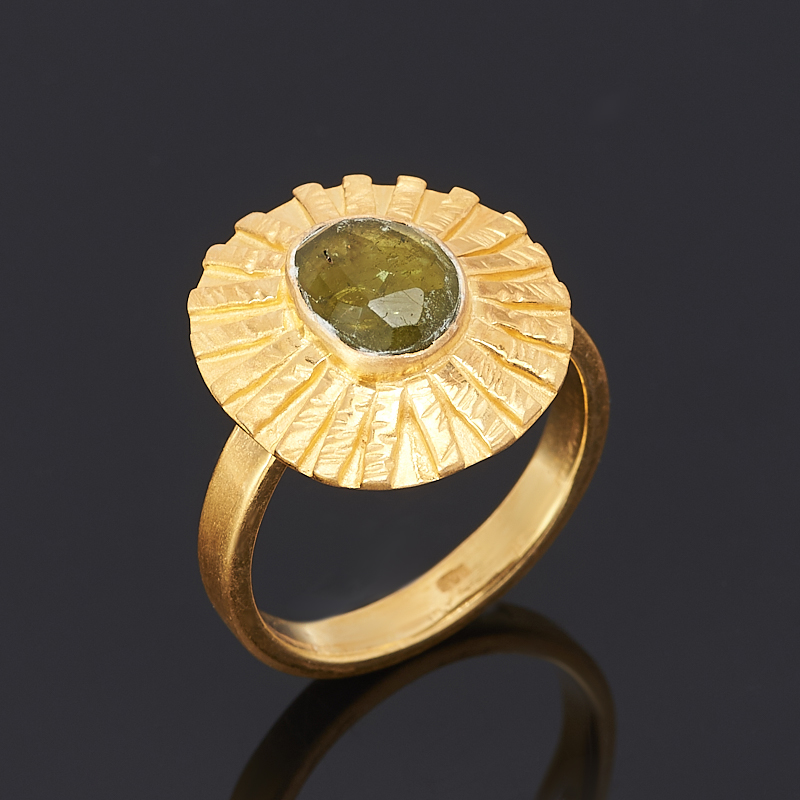 Кольцо турмалин зеленый (верделит) огранка (серебро 925 пр., позолота) размер регулируемый