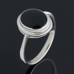 Кольцо агат черный Бразилия (серебро 925 пр. родир. бел.) размер 19