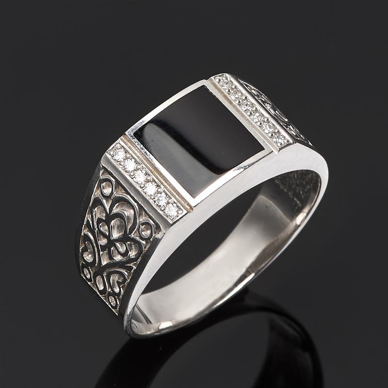 Кольцо агат черный (серебро 925 пр.) размер 21