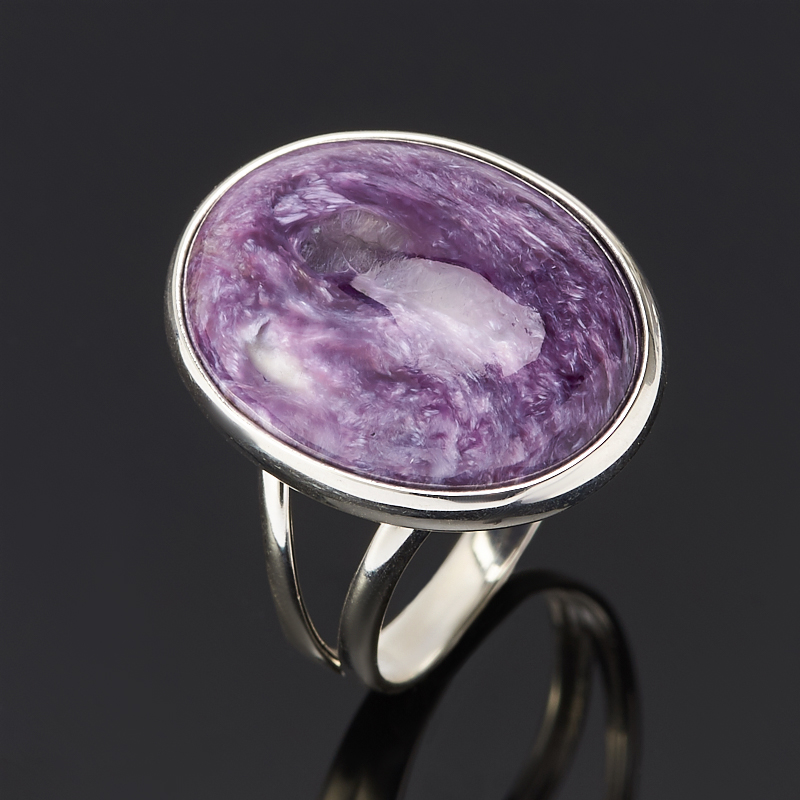 Кольцо чароит (серебро 925 пр.) размер 17