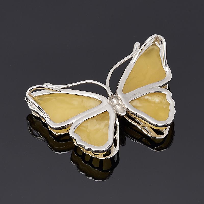 Кулон янтарь Россия бабочка (серебро 925 пр.)