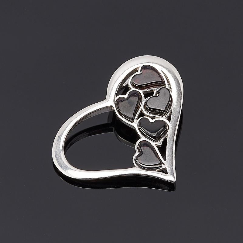 Кулон янтарь  сердечко (серебро 925 пр.)