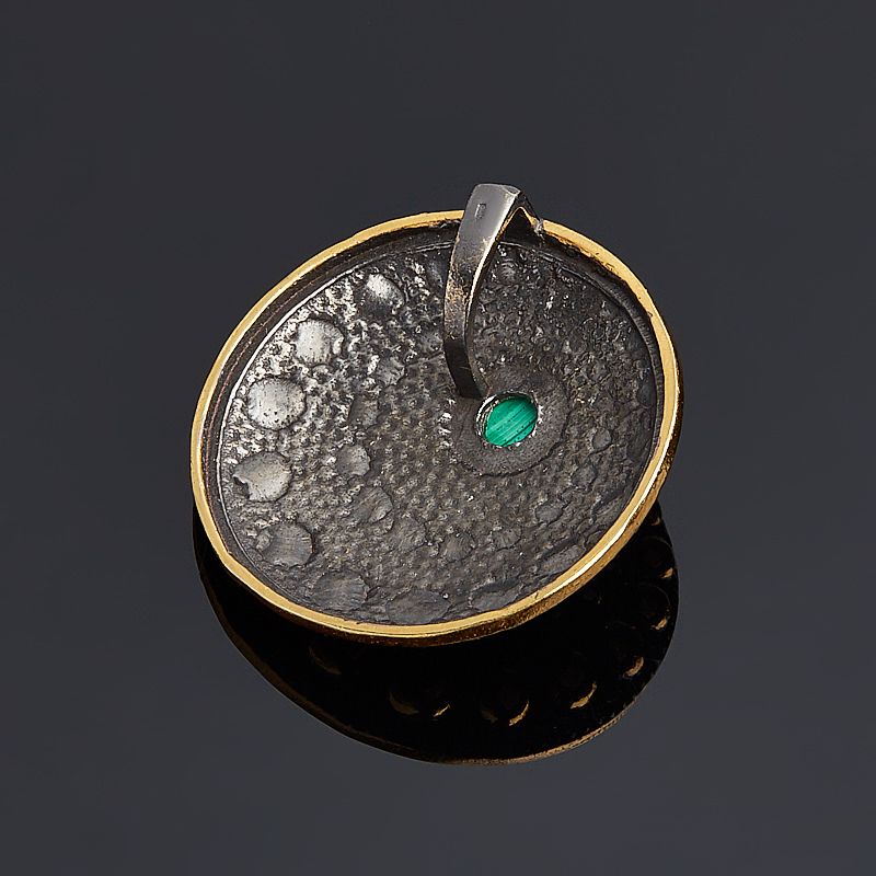 Кулон малахит Конго круг (серебро 925 пр. родир. черн. позолота)