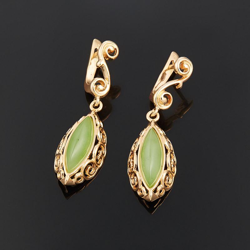 Серьги нефрит зеленый (серебро 925 пр., позолота)