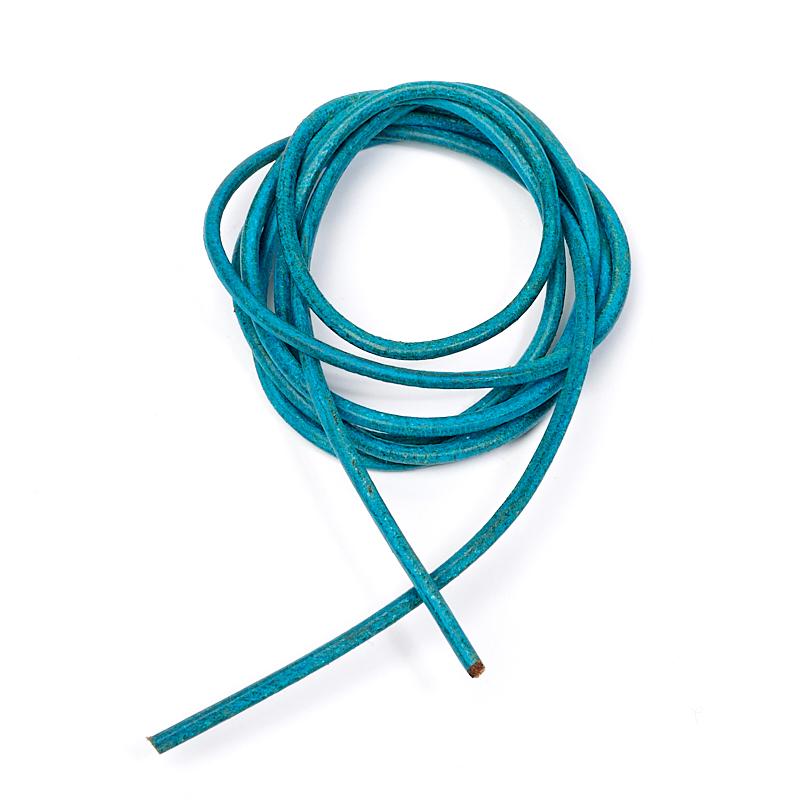 Шнурок бирюзовый 100 см (натуральная кожа)