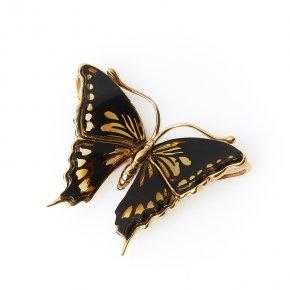 Кулон янтарь Россия бабочка (серебро 925 пр., позолота)