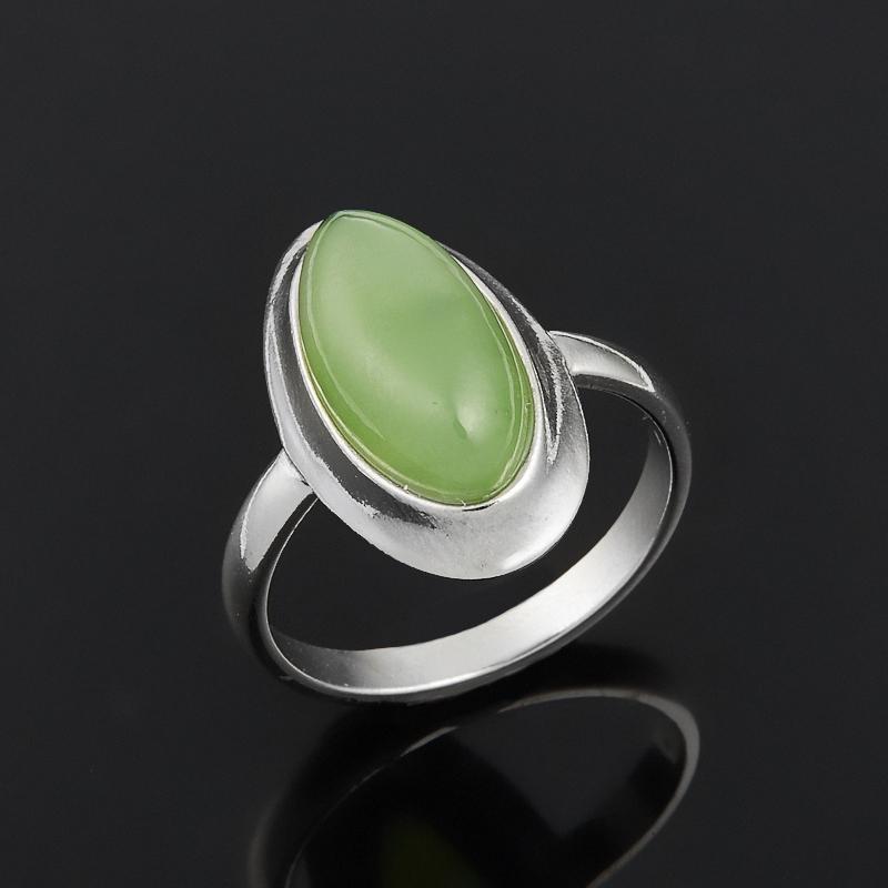 Кольцо нефрит зеленый (серебро 925 пр.) размер 16