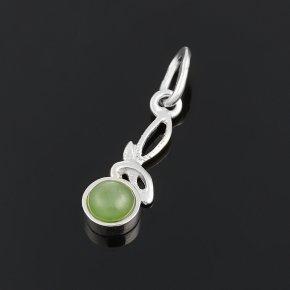 Кулон нефрит зеленый Россия (серебро 925 пр.)