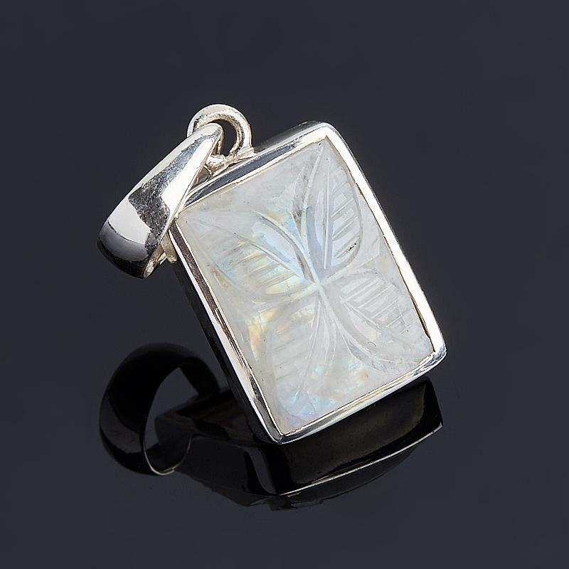 Кулон лунный камень прямоугольник (серебро 925 пр.)
