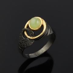 Кольцо нефрит зеленый Россия (серебро 925 пр. родир. черн. позолота) размер 17
