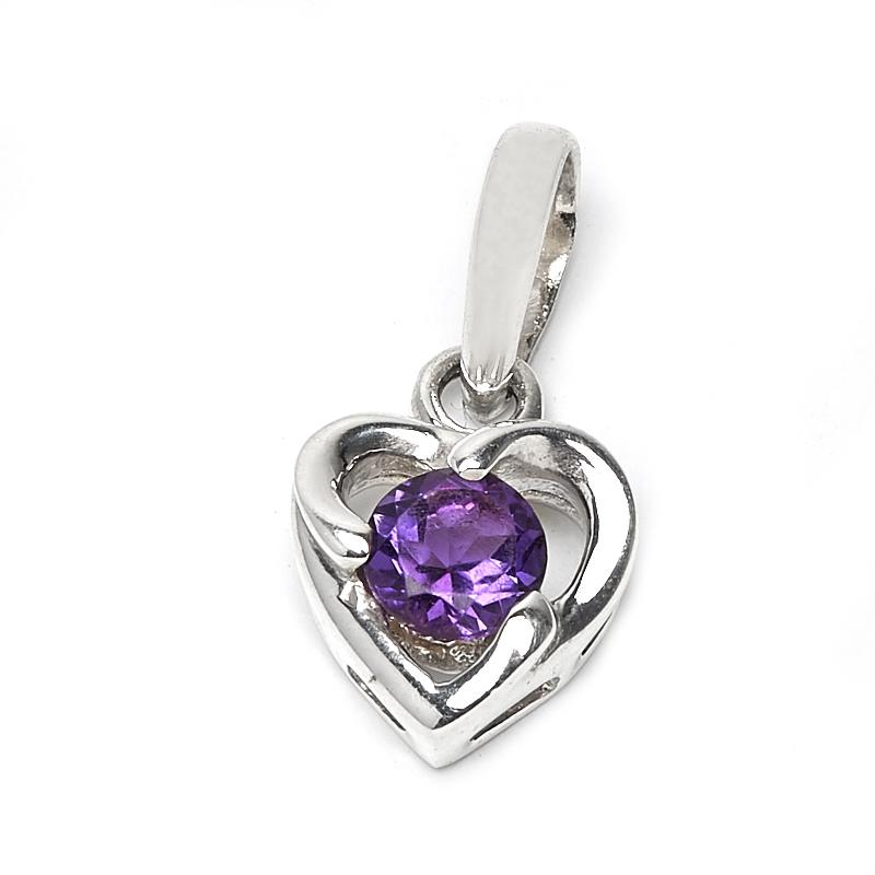 Кулон аметист сердечко огранка (серебро 925 пр.) природные аметистовый кулон аметист ожерелье женщин глаз ювелирные изделия аутентичные