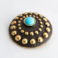 Кулон бирюза Тибет круг (серебро 925 пр. родир. черн. позолота)
