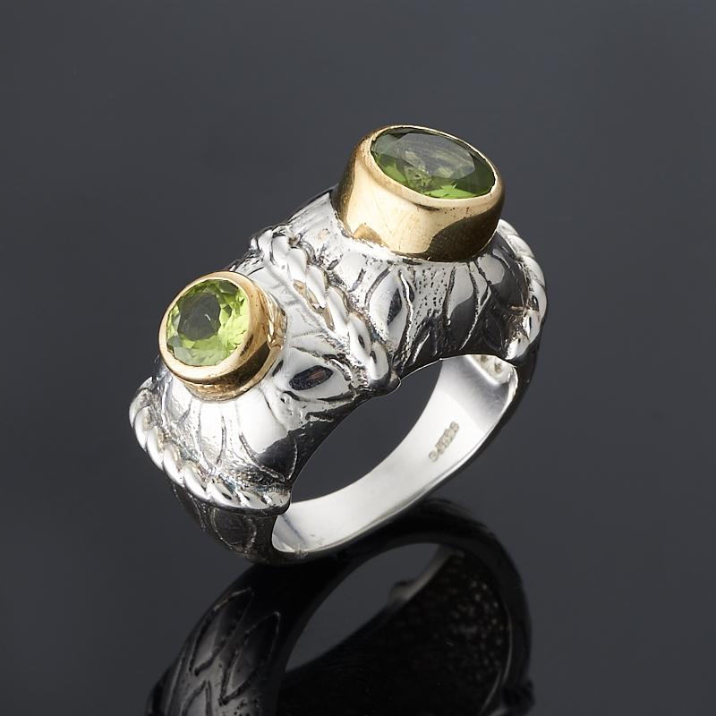 Кольцо хризолит огранка (серебро 925 пр., позолота) размер 18 цена и фото